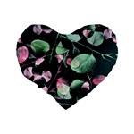 Modern Green And Pink Leaves Standard 16  Premium Heart Shape Cushions Back