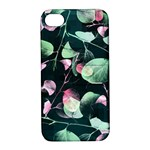 Modern Green And Pink Leaves Apple iPhone 4/4S Hardshell Case with Stand