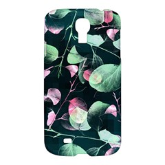 Modern Green And Pink Leaves Samsung Galaxy S4 I9500/i9505 Hardshell Case by DanaeStudio
