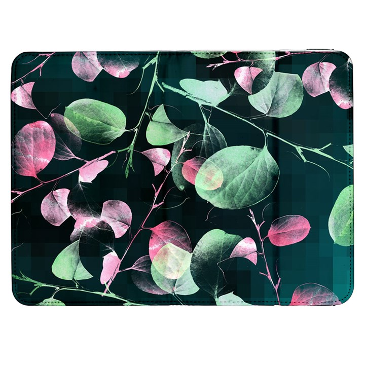 Modern Green And Pink Leaves Samsung Galaxy Tab 7  P1000 Flip Case