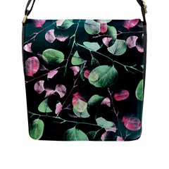 Modern Green And Pink Leaves Flap Messenger Bag (l)  by DanaeStudio