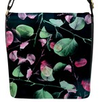 Modern Green And Pink Leaves Flap Messenger Bag (S)