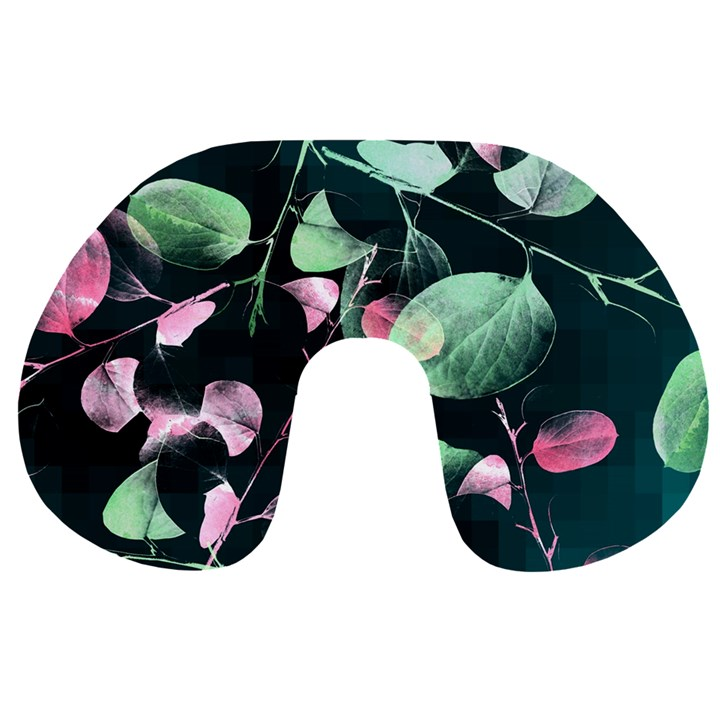 Modern Green And Pink Leaves Travel Neck Pillows