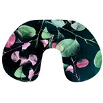 Modern Green And Pink Leaves Travel Neck Pillows Back