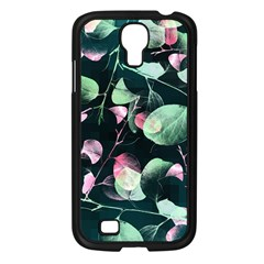Modern Green And Pink Leaves Samsung Galaxy S4 I9500/ I9505 Case (black) by DanaeStudio
