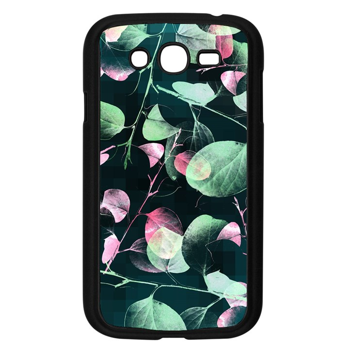 Modern Green And Pink Leaves Samsung Galaxy Grand DUOS I9082 Case (Black)