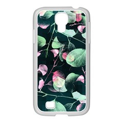 Modern Green And Pink Leaves Samsung Galaxy S4 I9500/ I9505 Case (white)