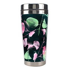 Modern Green And Pink Leaves Stainless Steel Travel Tumblers by DanaeStudio