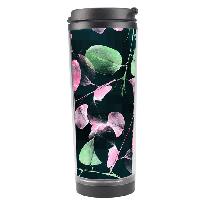 Modern Green And Pink Leaves Travel Tumbler