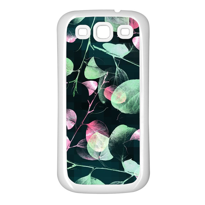 Modern Green And Pink Leaves Samsung Galaxy S3 Back Case (White)