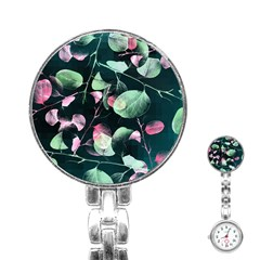 Modern Green And Pink Leaves Stainless Steel Nurses Watch