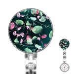 Modern Green And Pink Leaves Stainless Steel Nurses Watch Front