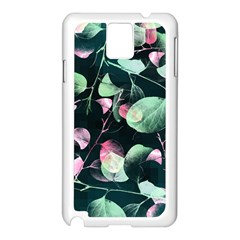 Modern Green And Pink Leaves Samsung Galaxy Note 3 N9005 Case (white) by DanaeStudio