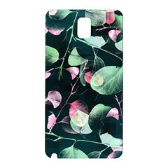 Modern Green And Pink Leaves Samsung Galaxy Note 3 N9005 Hardshell Back Case by DanaeStudio