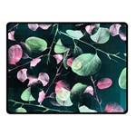 Modern Green And Pink Leaves Double Sided Fleece Blanket (Small)