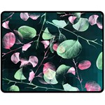 Modern Green And Pink Leaves Double Sided Fleece Blanket (Medium)  58.8 x47.4 Blanket Back