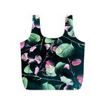 Modern Green And Pink Leaves Full Print Recycle Bags (S)