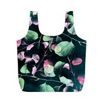 Modern Green And Pink Leaves Full Print Recycle Bags (M)