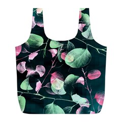 Modern Green And Pink Leaves Full Print Recycle Bags (l)  by DanaeStudio