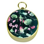 Modern Green And Pink Leaves Gold Compasses