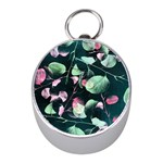 Modern Green And Pink Leaves Mini Silver Compasses