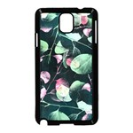 Modern Green And Pink Leaves Samsung Galaxy Note 3 Neo Hardshell Case (Black)