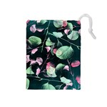 Modern Green And Pink Leaves Drawstring Pouches (Medium)