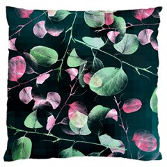 Modern Green And Pink Leaves Large Flano Cushion Case (two Sides)
