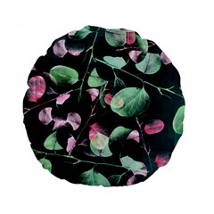 Modern Green And Pink Leaves Standard 15  Premium Flano Round Cushions by DanaeStudio