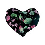 Modern Green And Pink Leaves Standard 16  Premium Flano Heart Shape Cushions