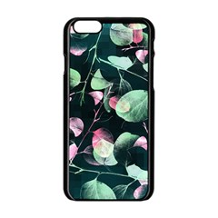Modern Green And Pink Leaves Apple Iphone 6/6s Black Enamel Case by DanaeStudio