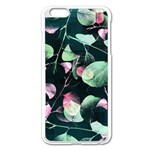 Modern Green And Pink Leaves Apple iPhone 6 Plus/6S Plus Enamel White Case