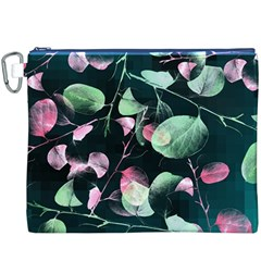Modern Green And Pink Leaves Canvas Cosmetic Bag (xxxl) by DanaeStudio