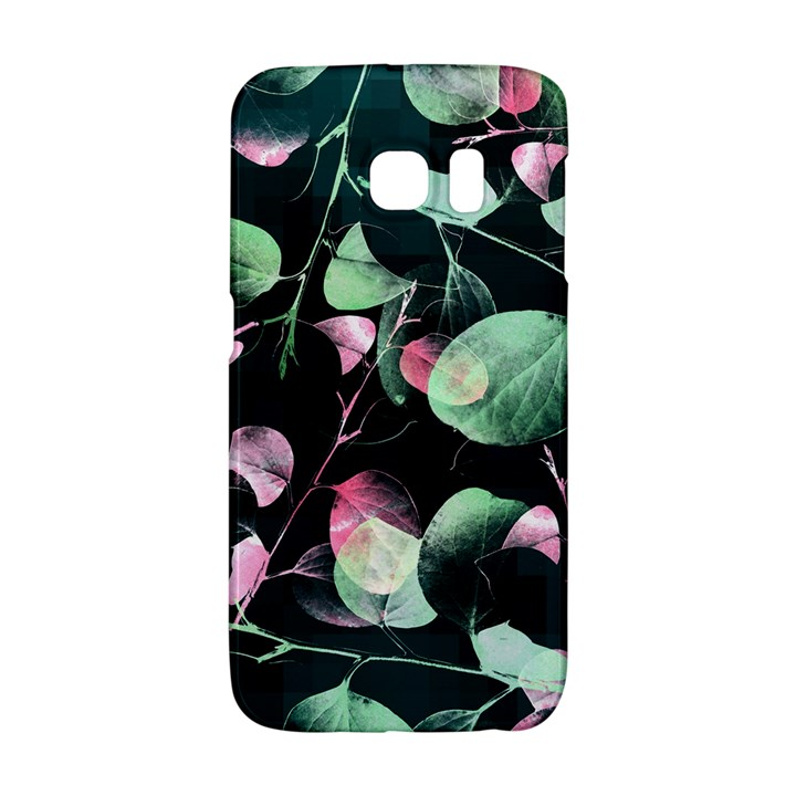 Modern Green And Pink Leaves Galaxy S6 Edge