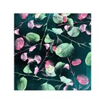 Modern Green And Pink Leaves Small Satin Scarf (Square)