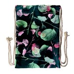 Modern Green And Pink Leaves Drawstring Bag (Large)