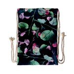 Modern Green And Pink Leaves Drawstring Bag (Small)