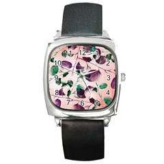 Spiral Eucalyptus Leaves Square Metal Watch