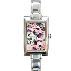 Spiral Eucalyptus Leaves Rectangle Italian Charm Watch by DanaeStudio