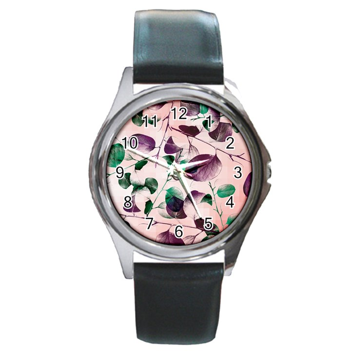 Spiral Eucalyptus Leaves Round Metal Watch