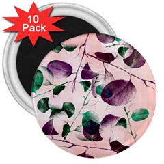 Spiral Eucalyptus Leaves 3  Magnets (10 Pack)  by DanaeStudio