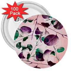 Spiral Eucalyptus Leaves 3  Buttons (100 Pack)  by DanaeStudio