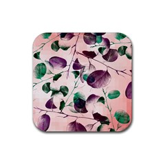 Spiral Eucalyptus Leaves Rubber Coaster (square)  by DanaeStudio