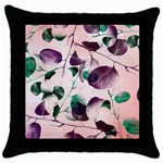Spiral Eucalyptus Leaves Throw Pillow Case (Black) Front