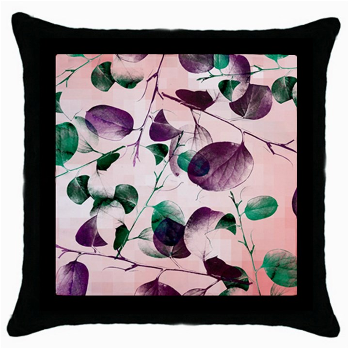 Spiral Eucalyptus Leaves Throw Pillow Case (Black)