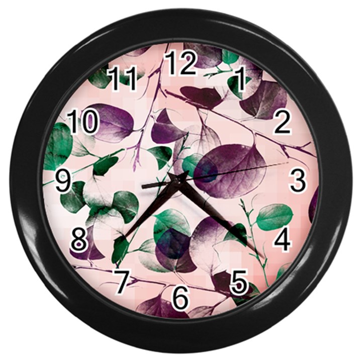 Spiral Eucalyptus Leaves Wall Clocks (Black)