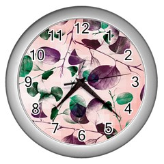Spiral Eucalyptus Leaves Wall Clocks (silver)  by DanaeStudio