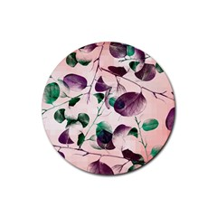 Spiral Eucalyptus Leaves Rubber Round Coaster (4 Pack)