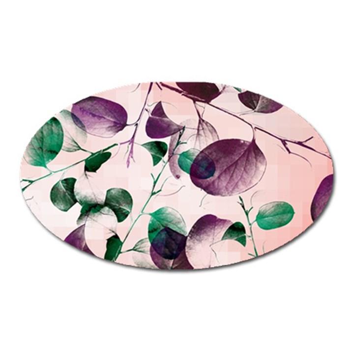 Spiral Eucalyptus Leaves Oval Magnet