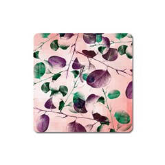 Spiral Eucalyptus Leaves Square Magnet by DanaeStudio